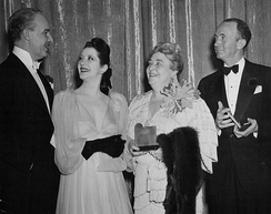 Alfred Lunt and Lynn Fontanne congratulate Darwell and Walter Brennan on their Academy Awards for Best Supporting Actress and Actor, February 28, 1941.