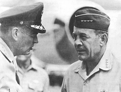 Seventh Air Force Commander General George S. Brown with Pacific Air Force Commander General Joseph J. Nazzaro. Both  Seventh Air Force and Pacific Air Force played major role in oversawing all United States Air Force operation in South Vietnam during the Vietnam War.