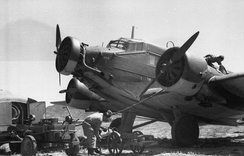 A Luftwaffe Ju 52 being serviced in Crete in 1943: Note the narrow-chord Townend ring on the central engine and the deeper-chord NACA cowlings on the wing engines.