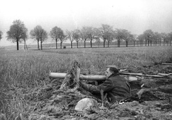 April 1945: a member of the Volkssturm, the German home defence militia, armed with Panzerschreck, outside Berlin.