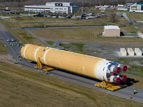 SLS Core Stage rolling out from the Michoud Assembly Facility on 8 January 2020, ahead of the Artemis 1 Mission.
