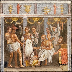 Choregos and theater actors, from the House of the Tragic Poet, Pompeii, Italy. Naples National Archeological Museum