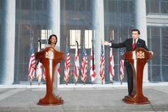 US Secretary of State Condoleezza Rice holding a joint press conference with Georgian president Mikheil Saakashvili during the Russo-Georgian war