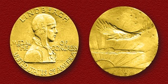 The Congressional Gold Medal presented August 15, 1930, to Lindbergh by President Herbert Hoover
