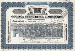 Share of the Corona Typewriter Company from the 7th October 1919