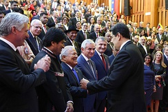 Presidents of Bolivia, Cuba and El Salvador greet Nicolás Maduro at Maduro's second inauguration in Caracas on 10 January 2019