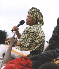 Sirleaf campaigning in Monrovia in 2005, shortly before she was elected