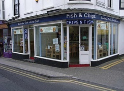 A fish and chip shop in Broadstairs, United Kingdom