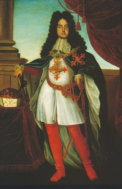 The Duke of Parma wearing the ceremonial robes of the order