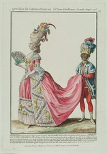 Pink had become a popular color throughout Europe by the late 18th century. It was associated with both romanticism and seduction. This fashion plate is from 1778–1787.