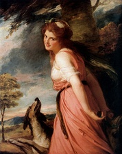 Emma, Lady Hamilton, later the mistress of Admiral Horatio Nelson, had herself painted by English painter George Romney posing as a Bacchante, dressed in pink. (1782–1784)