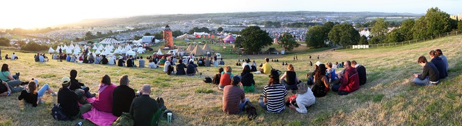 View over the Glastonbury Festival, 2009