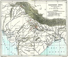 A 1912 map of 'Northern India The Revolt of 1857–59' showing the centres of rebellion including the principal ones: Meerut, Delhi, Bareilly, (Kanpur), Lucknow, Jhansi, and Gwalior