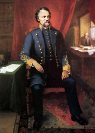Painting of middle-aged man with brown, bushy mustache. Wearing Confederate general's uniform.