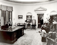 John F. Kennedy delivering his speech before television cameras