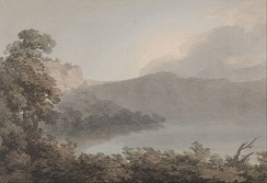 Watercolour in the English tradition, John Robert Cozens, Lake of Vico Between Rome and Florence, c. 1783