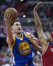 "The ""Splash Brothers"": Stephen Curry (left) and Klay Thompson (right)"