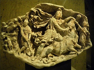 A Roman tauroctony relief from Aquileia (c. 175 CE; Kunsthistorisches Museum, Vienna)