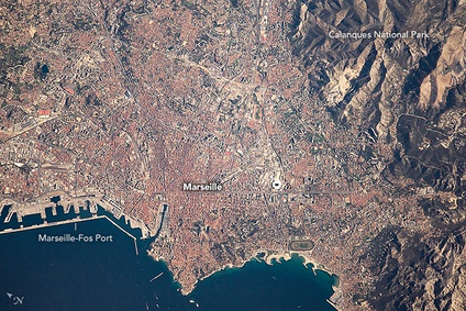 Marseille and Calanques National Park from the ISS, February 2017