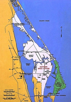 Cape Canaveral with Kennedy Space Center shown in white; Cape Canaveral Space Force Station in green