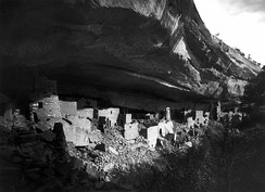 Ruins of Cliff Palace at Mesa Verde National Park as photographed by Gustaf Nordenskiöld in 1891.