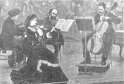Vilemina Norman Neruda leading a string quartet, about 1880