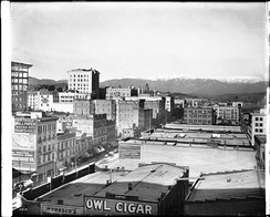 Panoramic view of Los Angeles looking north from the Pacific Electric Building, ca. 1 January 1907