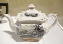 Transfer-printed teapot for the American market, c. 1845, showing Peekskill Landing, William Ridgway & Company, Hanley, England.