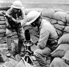 Portuguese troops loading the Stokes Mortar.