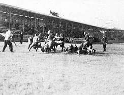 The Rice Owls playing football at West End Park in 1915