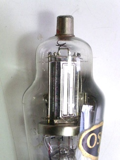 View of the interior of an Osram S23 screen grid valve.  In this valve the anode is in the form of two flat plates. The wires of the screen grid can also be seen. The anode connection is at the top of the envelope to minimise anode-grid capacitance
