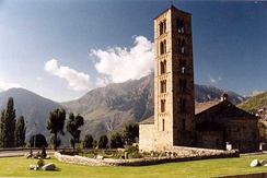 The Medieval church of Sant Climent de Taüll, located at the foothills of the Pyrenees, in the province of Lleida