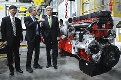 Kerry touring a Chinese automobile factory in Beijing