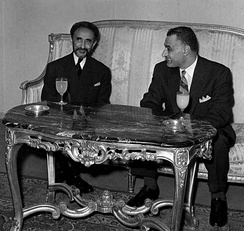 Emperor Haile Selassie with President Gamal Abdel Nasser of Egypt in Addis Ababa for the Organisation of African Unity summit, 1963.