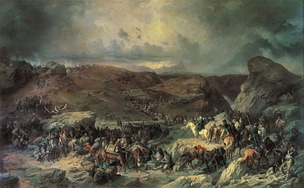 Russian troops under Generalissimo Alexander Suvorov crossing the Alps in 1799