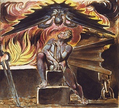 The artist William Blake used the blacksmith as a motif in his own extensive mythology. Here, Los, a protagonist in several of Blake's poems, is tormented at his smithy by the figure Spectre in an illustration Blake's poem Jerusalem. This image comes from Copy E. of that work, printed in 1821 and in the collection of the Yale Center for British Art[3][4]