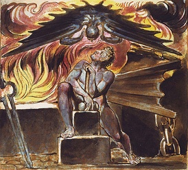 Because William Blake worked in multiple artistic mediums, printing and illustrating extensive art books, his own extensive mythological community is both written about and illustrated. Here, Los is tormented at his smithy by the characteristic part of human nature Spectre in an illustration to Blake's poem Jerusalem. This image comes from Copy E. of that work, printed in 1821 and in the collection of the Yale Center for British Art[14][15]