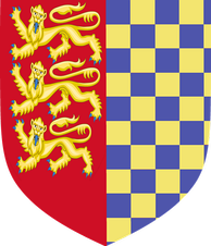 Stamford Town Council's arms: Per pale dexter side Gules three Lions passant guardant in pale Or and the sinister side chequy Or and Azure