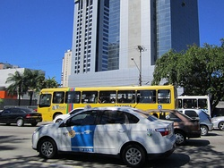 Typical white taxi of Recife.