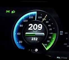 A Tesla Model S P85+ using regenerative braking power in excess of 60 kW. During regenerative braking the power indicator is green