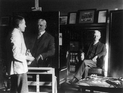 U.S. Vice President Thomas R. Marshall having his portrait painted by an unidentified artist, 1920
