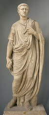 Claudius wearing an early Imperial toga (see a later, more structured toga above), and the pallium as worn by a priest of Serapis,[467] sometimes identified as the emperor Julian