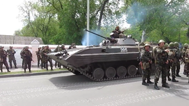 Ukrainian Army soldiers and BMP-2 in Mariupol.