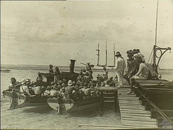 A landing party from the German Navy cruiser Emden leaves Cocos (Keeling) Islands via this jetty on Direction Island on 9 November 1914.