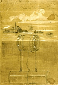 Infernal machines in the Potomac River in 1861 during the American Civil War, sketch by Alfred Waud