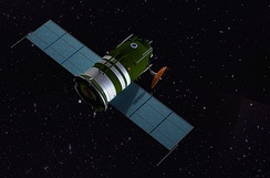 Artist's impression of the Soyuz 7K-L1 en route to the Moon