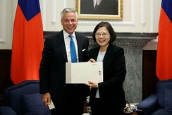 Huntsman meets with Taiwan's President Tsai Ing-wen in June 2016