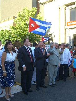 Menendez marching in the annual Cuban Day Parade in North Hudson, New Jersey