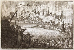 Danish Altona burned down during Magnus Stenbock's campaign (1713). Russian forces retaliated by burning down Swedish Wolgast (same year).
