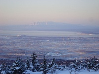 Anchorage as viewed from the Glenn Alps trailhead during the summer.